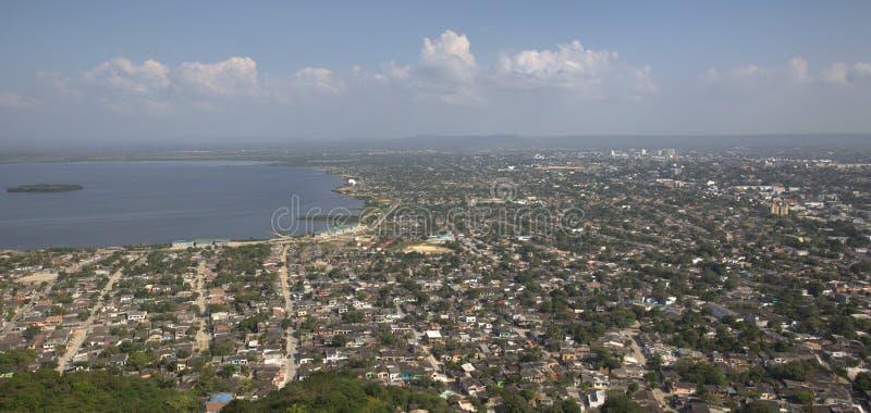 Vista aérea da cidade velha de Cartagena imagens de stock