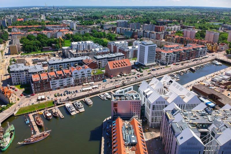 Vista aérea da cidade velha de Gdansk no cenário do verão, Polônia imagem de stock
