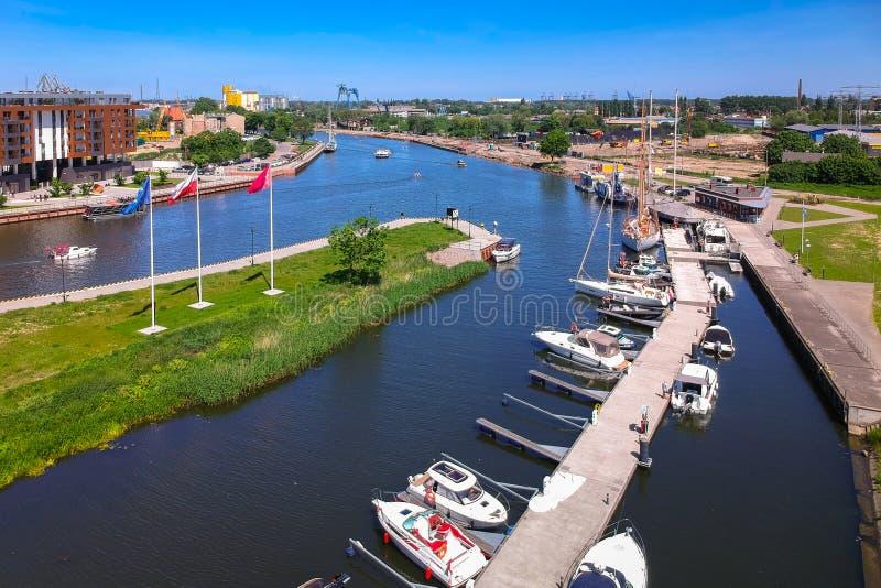 Vista aérea da cidade velha de Gdansk no cenário do verão, Polônia foto de stock