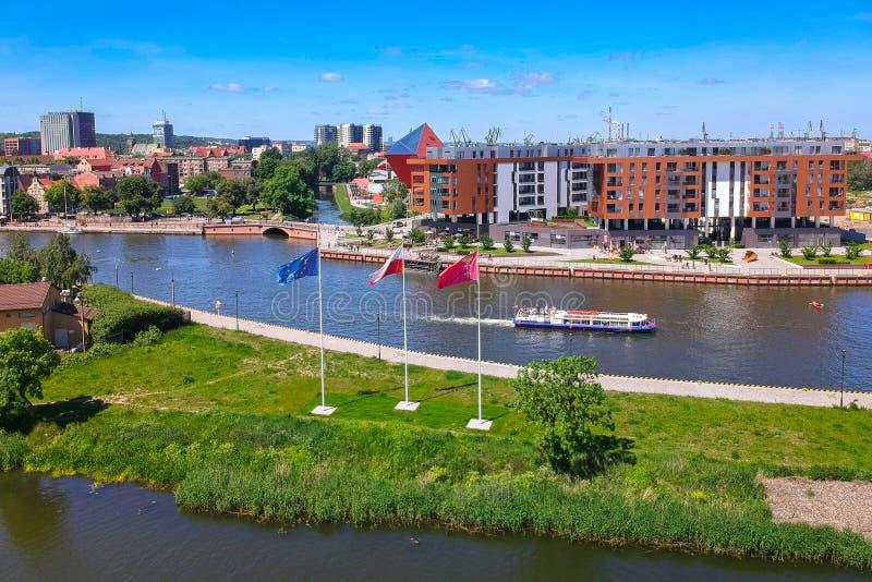 Vista aérea da cidade velha de Gdansk no cenário do verão, Polônia imagens de stock royalty free