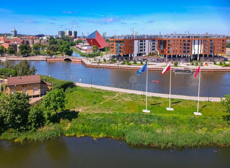 Vista aérea da cidade velha de Gdansk no cenário do verão, Polônia fotografia de stock royalty free