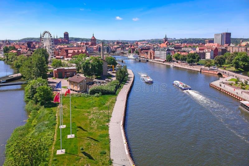 Vista aérea da cidade velha de Gdansk no cenário do verão, Polônia fotos de stock royalty free