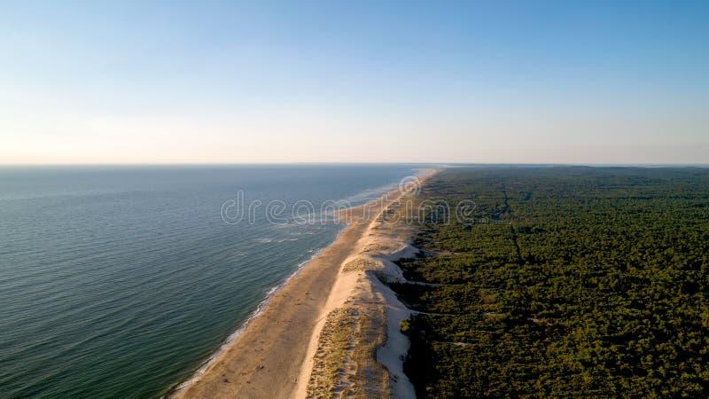 Vista aérea da costa atlântica selvagem no La Tremblade imagem de stock royalty free