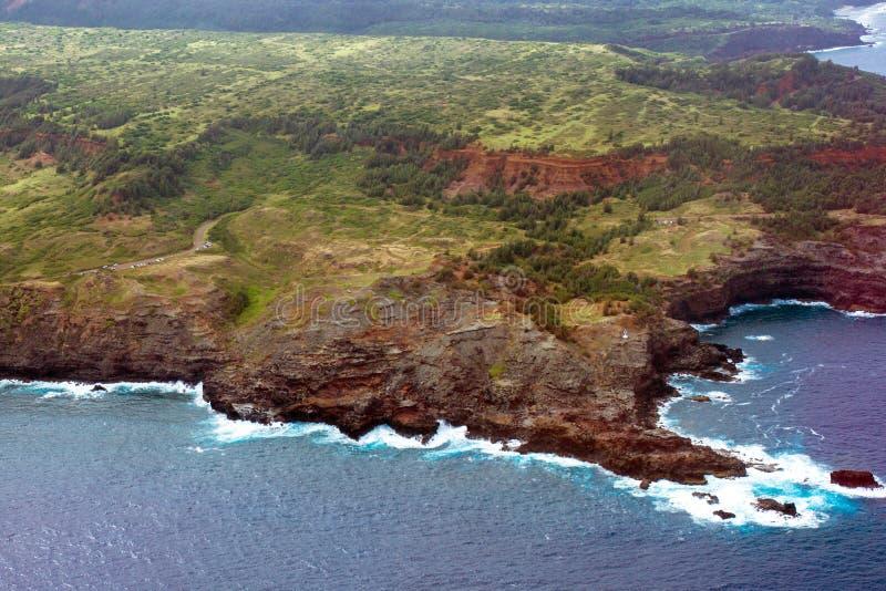 Vista aérea da costa da ilha de Maui em Havaí imagens de stock royalty free
