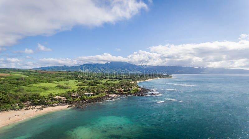 Vista aérea da costa norte de Oahu imagens de stock