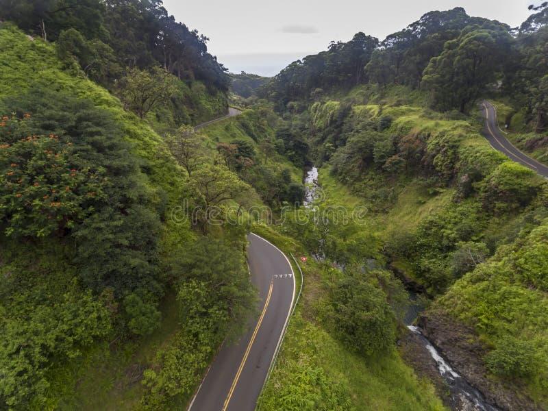 Vista aérea da estrada para Hana Maui foto de stock royalty free