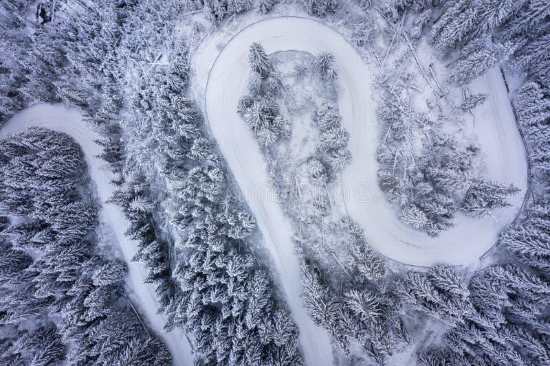 Vista aérea da estrada serpentina curvada na floresta do inverno imagens de stock