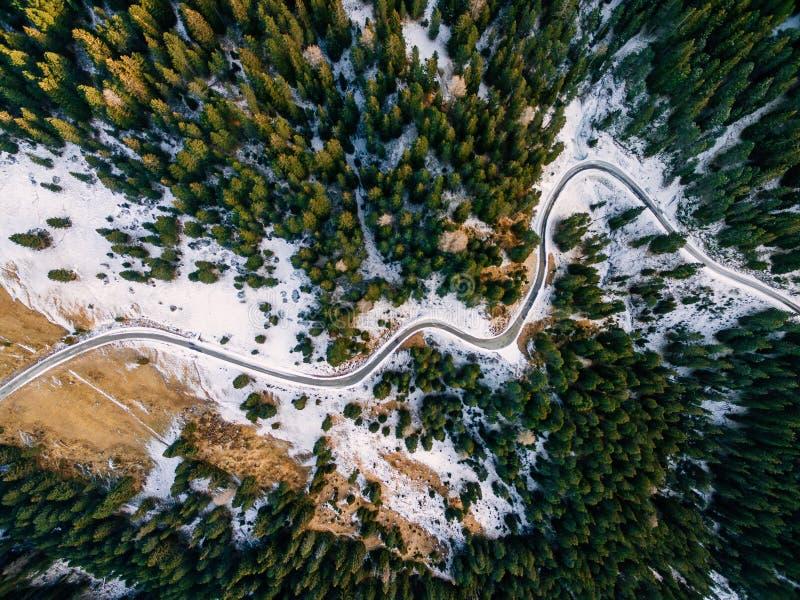 Vista aérea da floresta nevado com uma estrada Capturado de cima com de um zangão foto de stock royalty free