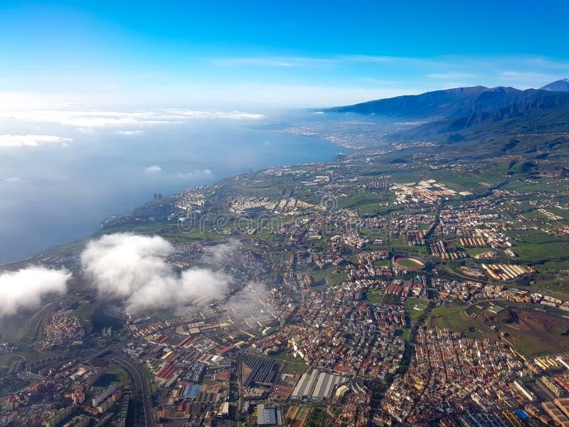 Vista aérea da ilha de Tenerife, Ilhas Canárias, Espanha fotografia de stock