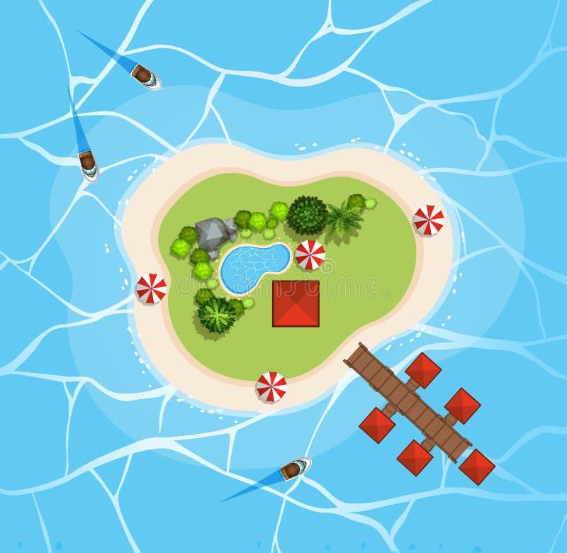 Vista aérea da ilha no mar ilustração stock
