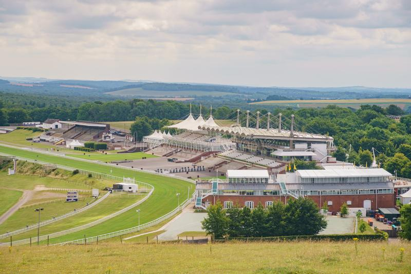 Vista aérea da pista de corridas de Goodwood foto de stock royalty free