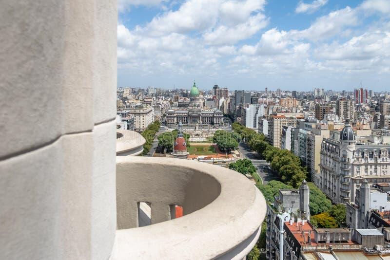 Vista aérea da plaza Congreso do balcão do palácio de Barolo - Buenos Aires, Argentina foto de stock royalty free
