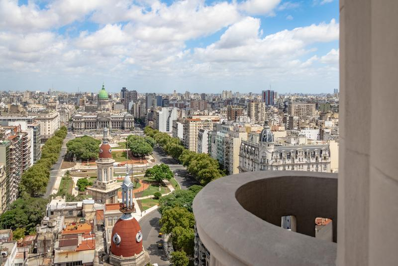 Vista aérea da plaza Congreso do balcão do palácio de Barolo - Buenos Aires, Argentina imagem de stock royalty free