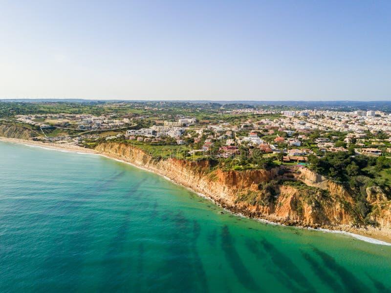 Vista aérea da praia de Lagos fotografia de stock