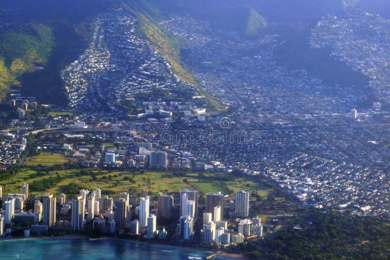 Vista aérea da praia de Waikiki, hotéis, Alá Wai Canal, Kapahulu a fotografia de stock