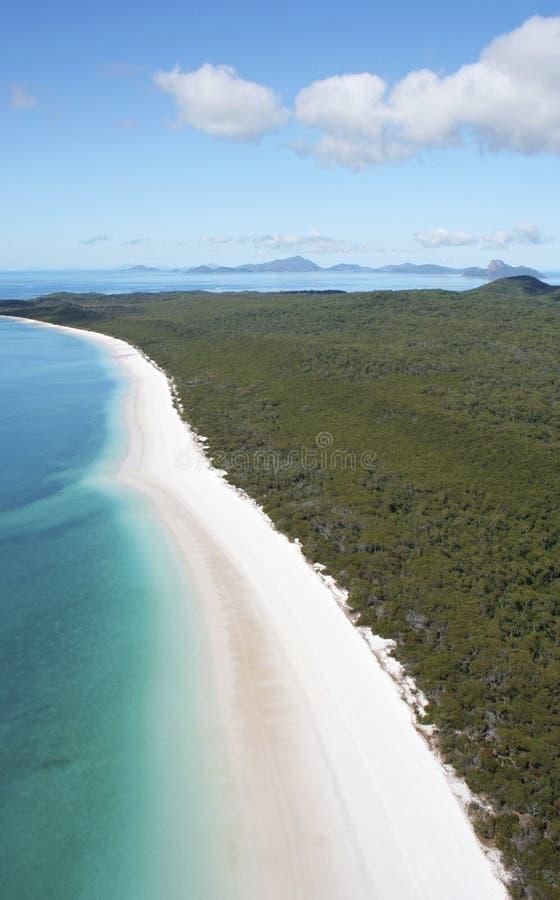 Vista aérea da praia de Whitehaven, Austrália fotografia de stock royalty free