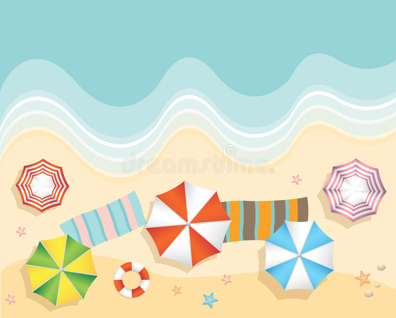 Vista aérea da praia do verão no estilo liso do projeto ilustração royalty free