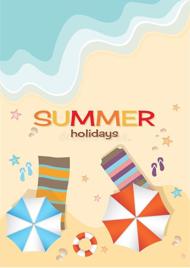 Vista aérea da praia do verão no estilo liso do projeto ilustração stock