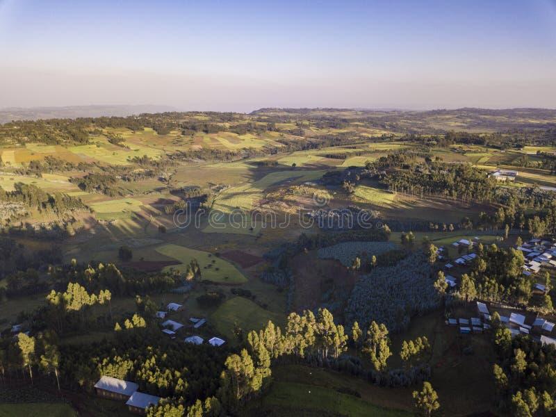 Vista aérea da vila etíope rural imagem de stock