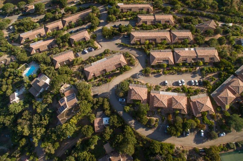 Vista aérea da vizinhança suburbana imagem de stock royalty free