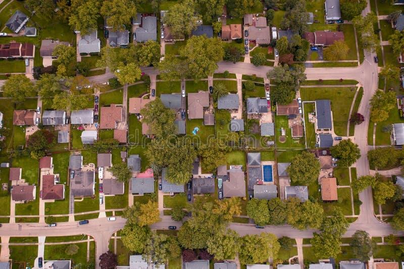 Vista aérea da vizinhança suburbana na América fotografia de stock royalty free