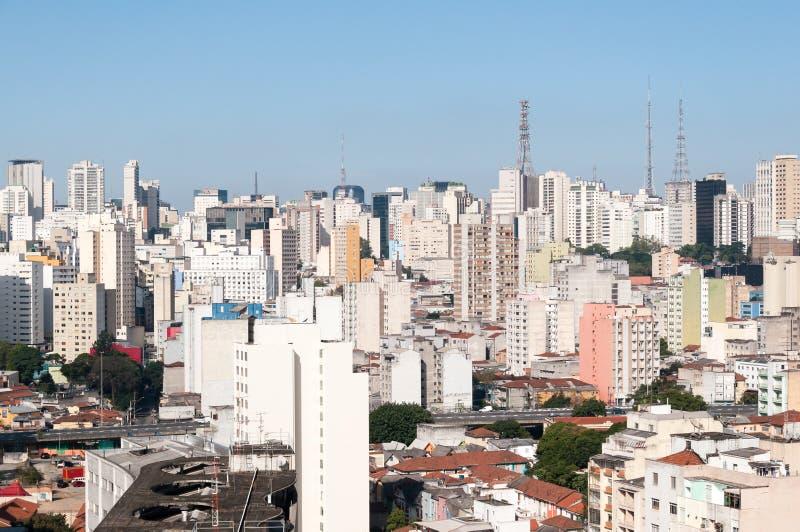 Vista aérea das construções na avenida de Paulista imagens de stock