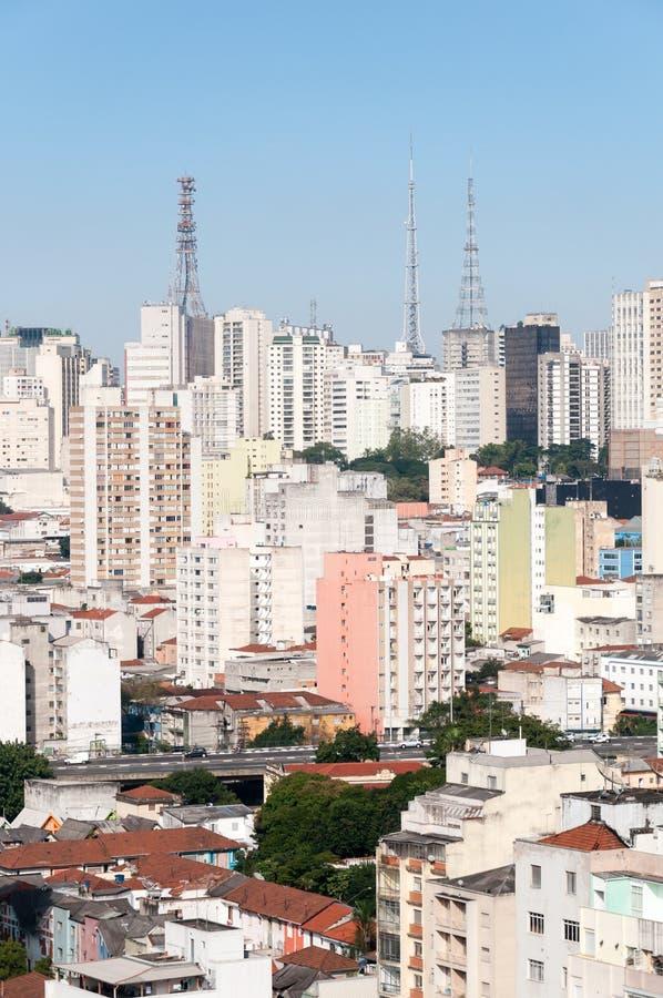 Vista aérea das construções na avenida de Paulista fotos de stock royalty free