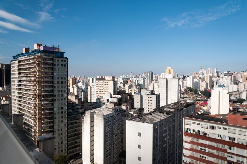 Vista aérea das construções na cidade de Sao Paulo fotografia de stock