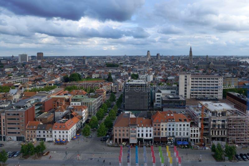 Vista aérea de Amberes fotografía de archivo libre de regalías