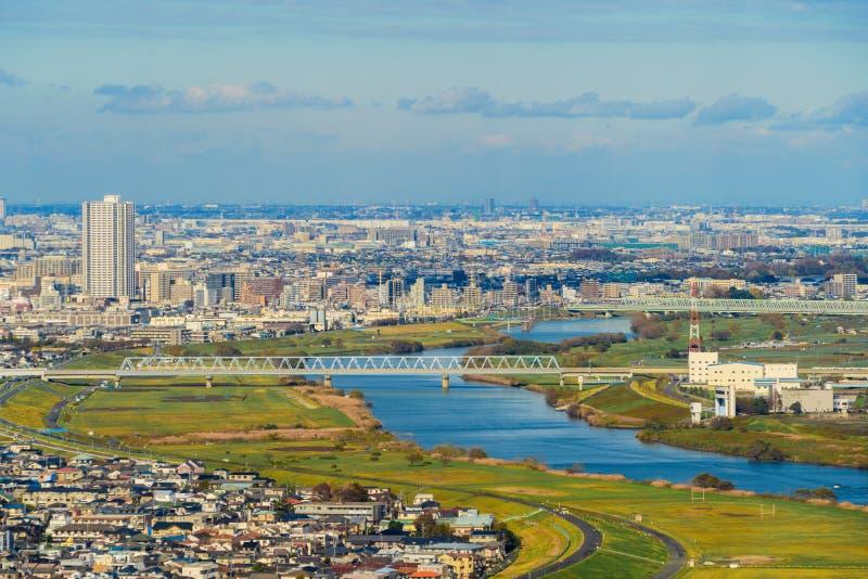 Vista aérea de apartamentos do Tóquio no fundo da arquitetura da cidade Residen imagem de stock royalty free