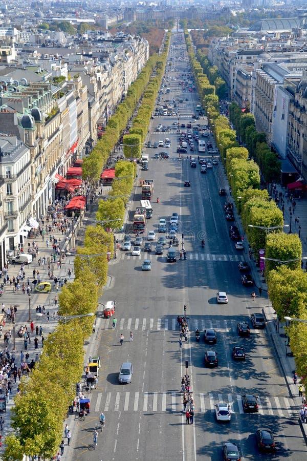 Vista aérea de Arc de Triomphe Paris imagens de stock