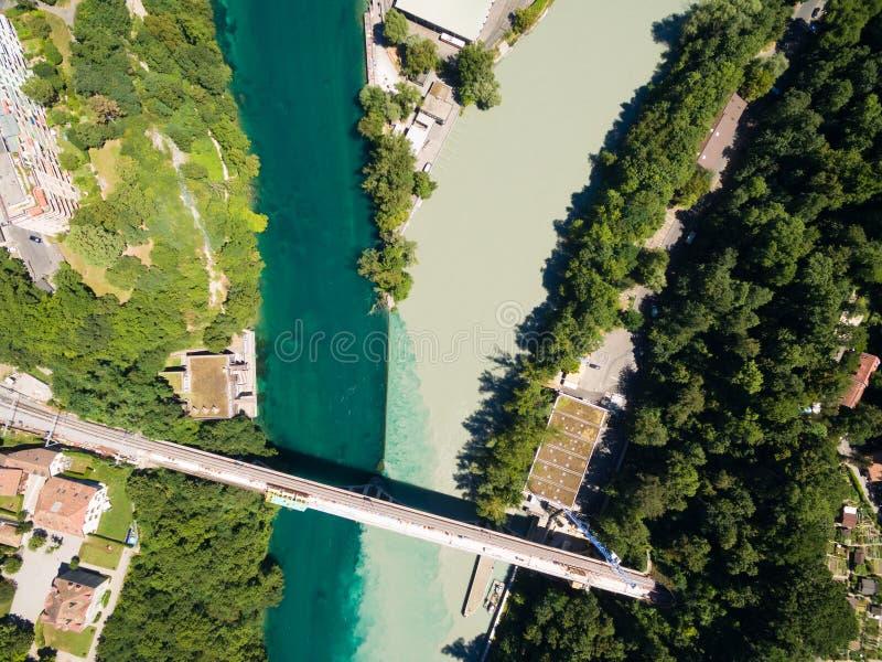 Vista aérea de Arve un río Rhone confluente en Ginebra Switzerl foto de archivo