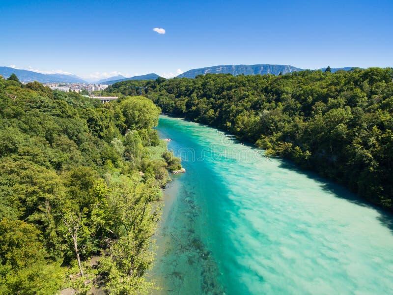 Vista aérea de Arve un río Rhone confluente en Ginebra Switzerl fotos de archivo libres de regalías