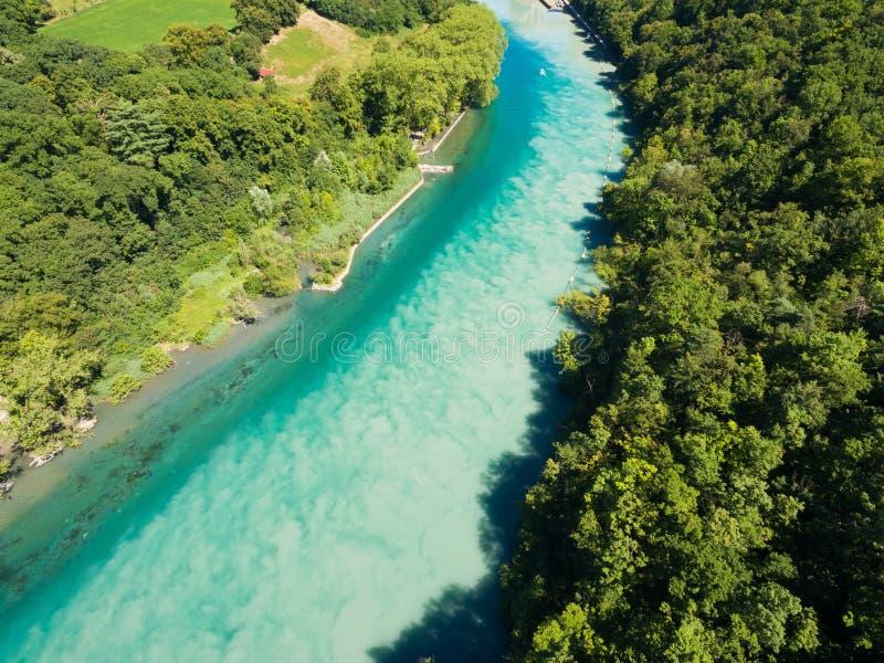 Vista aérea de Arve un río Rhone confluente en Ginebra Switzerl fotografía de archivo