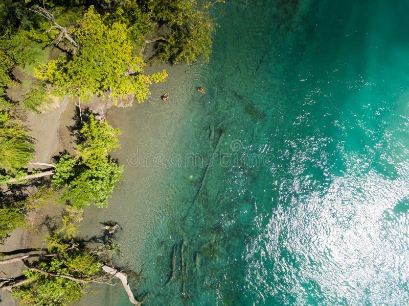 Vista aérea de Arve un río Rhone confluente en Ginebra Switzerl foto de archivo libre de regalías