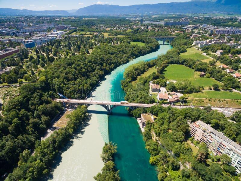 Vista aérea de Arve un río Rhone confluente en Ginebra Switzerl fotografía de archivo libre de regalías