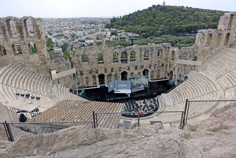 Vista aérea de Atenas-odeon do atticus dos herodes fotografia de stock