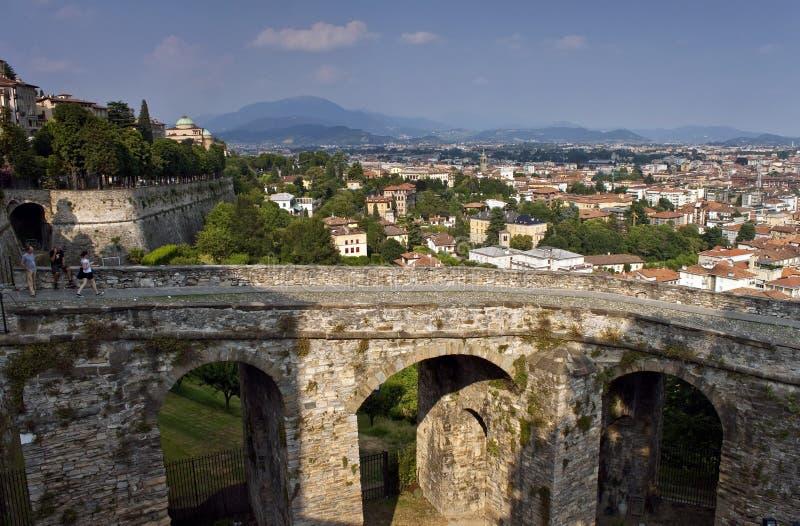 Vista aérea de Bérgamo imagen de archivo libre de regalías