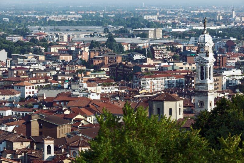 Vista aérea de Bérgamo, Italia imagen de archivo libre de regalías
