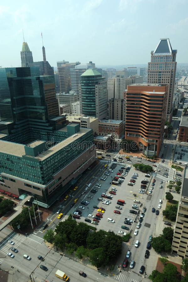 Vista aérea de Baltimore céntrica fotos de archivo