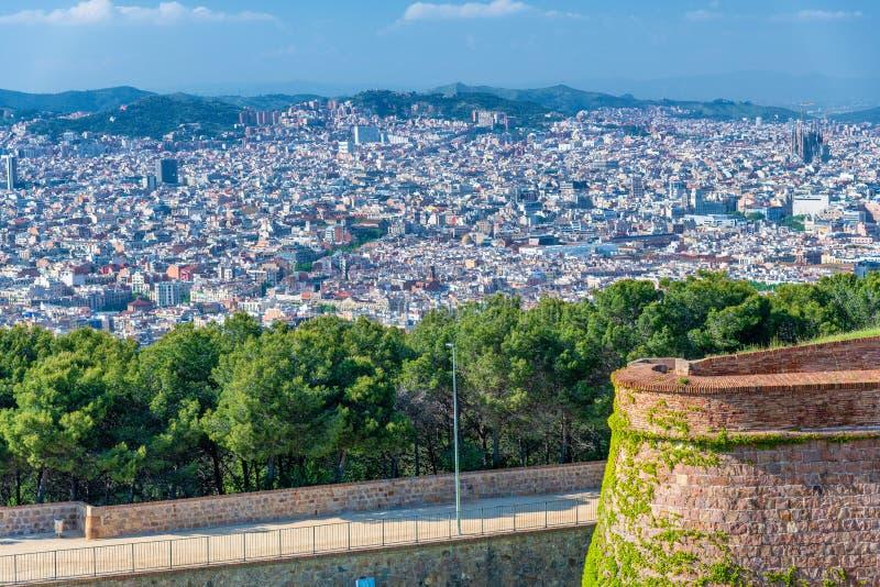 Vista aérea de Barcelona del castillo de Montjuic, España imagen de archivo libre de regalías
