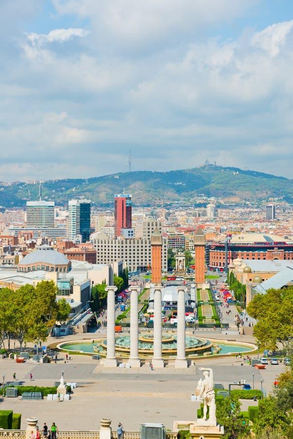 Vista aérea de Barcelona del palacio nacional, 21 de septiembre de 2012 foto de archivo libre de regalías