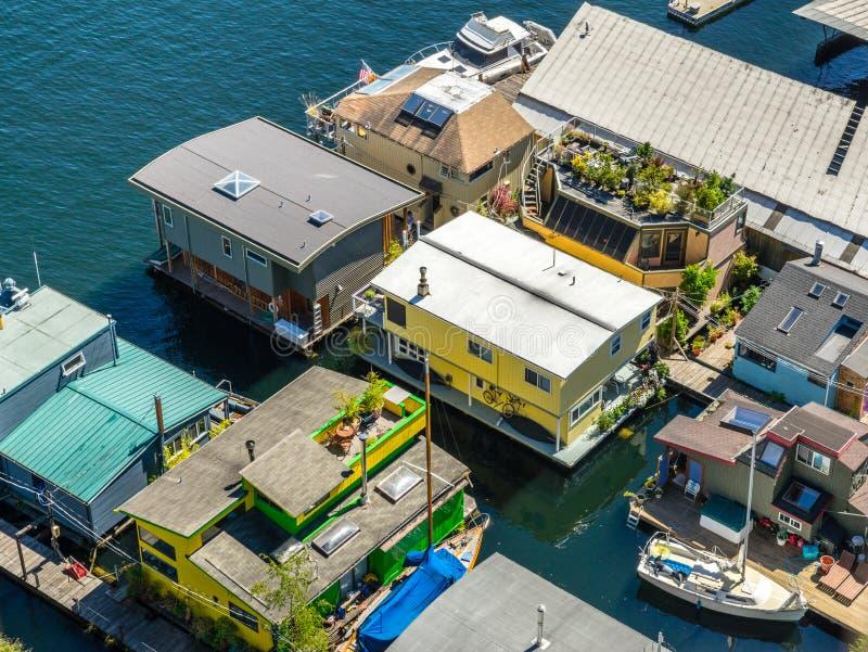 Vista aérea de barcos de casa na união Seattle Washington do lago foto de stock