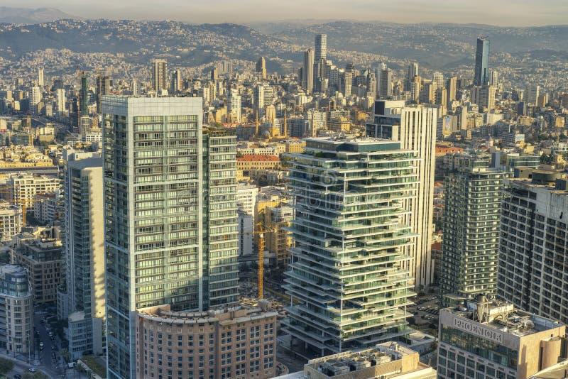 Vista aérea de Beirute Líbano, cidade scape da cidade de Beirute, Beirute foto de stock