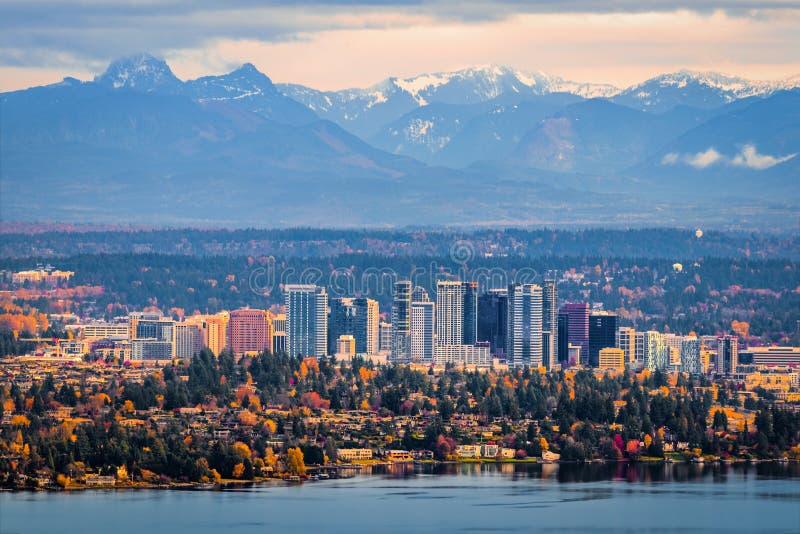 Vista aérea de Bellevue Washington imágenes de archivo libres de regalías