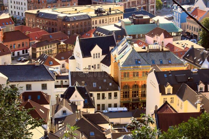 Vista aérea de Bergen céntrica, Noruega fotos de archivo