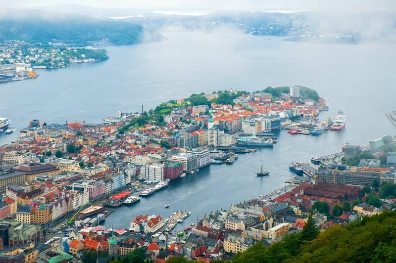 Vista aérea de Bergen, Noruega imágenes de archivo libres de regalías