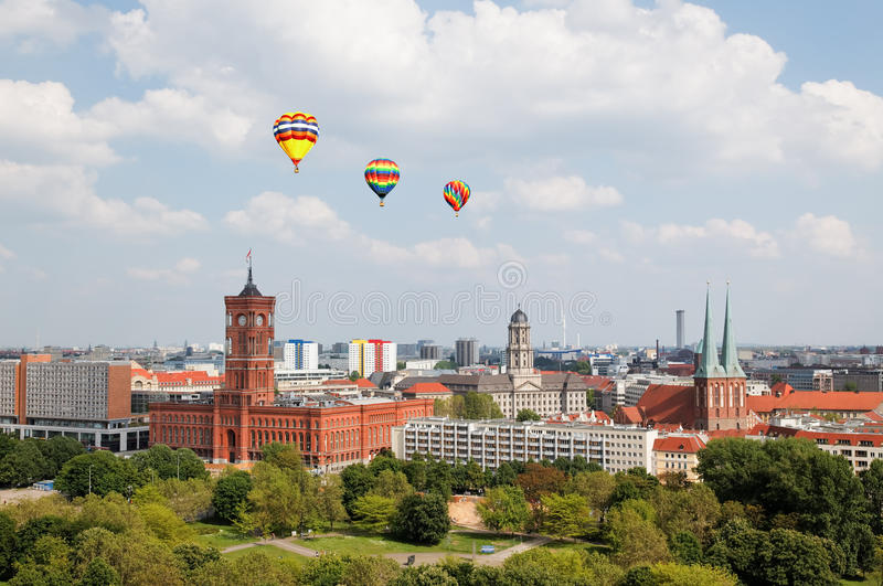 Vista aérea de Berlim central imagens de stock