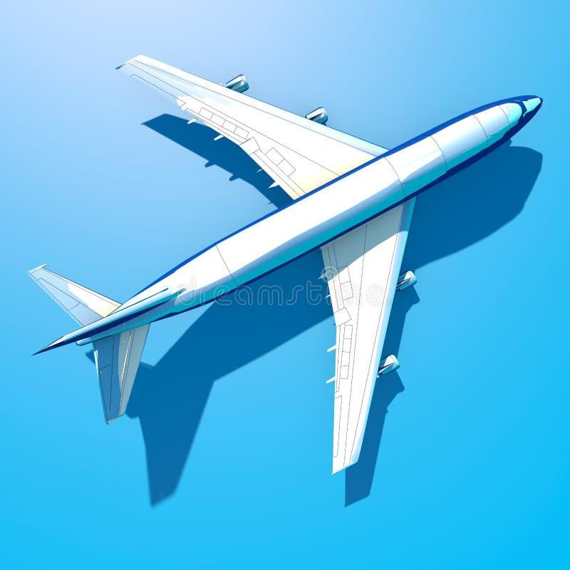 Vista aérea de Boeing 747, vista superior de um avião azul, sombra longa ilustração do vetor