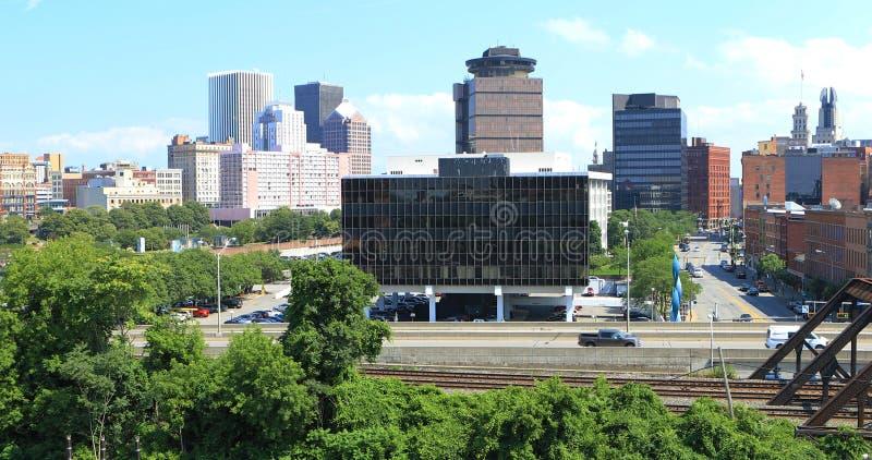 Vista aérea de calles en Rochester, Nueva York imagen de archivo